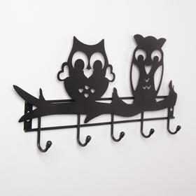 Вешалка настенная на 5 крючков «Совы», цвет чёрный - фото 4641857