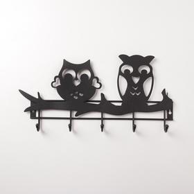 Вешалка настенная на 5 крючков «Совы», цвет чёрный - фото 4641855