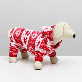Reindeer jumpsuit with hood, size XS (DS 20 cm, OG 30 cm, OSH 20 cm), red
