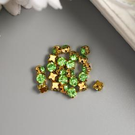 Crystal rhinestones in studs, round, 4x4 mm, 29-30 pcs / pack, green