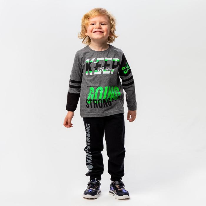 Лонгслив для мальчика, цвет тёмно-серый, рост 116-122 см - фото 1943625