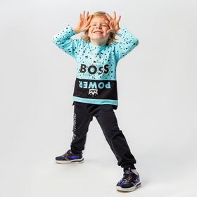 Лонгслив для мальчика, цвет голубой, рост 122-128 см