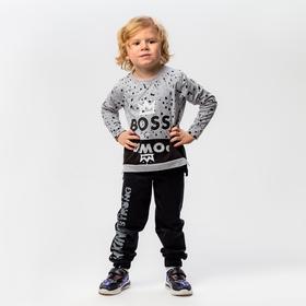 Лонгслив для мальчика, цвет серый, рост 98-104 см