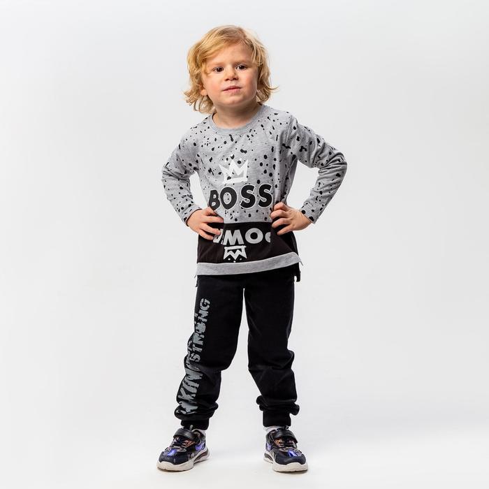 Лонгслив для мальчика, цвет серый, рост 104-110 см - фото 1943649