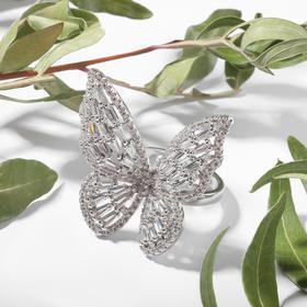 """Кольцо """"Бабочка"""" крупная, цветное в серебре, безразмерное"""