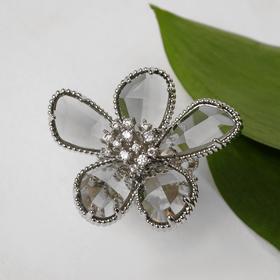"""Кольцо """"Цветок"""" волшебство, цвет бело-серый в серебре, безразмерное"""