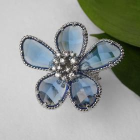 "Кольцо ""Цветок"" волшебство, цвет бело-синий в серебре, безразмерное"
