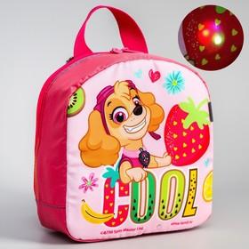 Backpack det Light sky 811, 20*9*22, zippered otd, flashing element, pink
