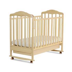 Кровать детская Березка с ящиком (автостенка, колеса,качалка, накладка ПВХ, береза)