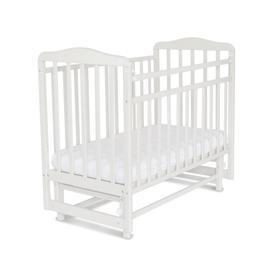 Кровать детская Митенька с маятником (опуск.планка, белый)