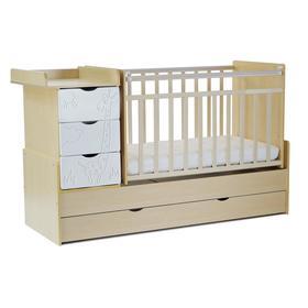 Кровать детская СКВ-5 Жираф, опуск.бок., маятник, 4 ящика, береза+белый