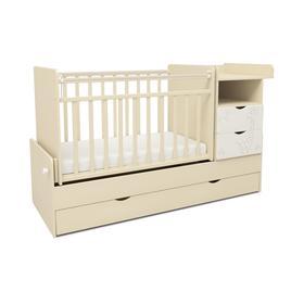 Кровать детская СКВ-5 Жираф (опуск.бок., маятник, полка, 3 ящика, бежевый+белый)