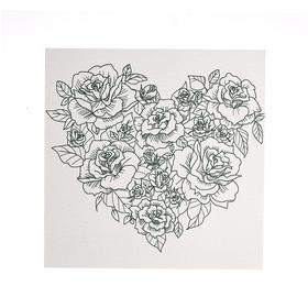 """Antistress coloring on primed MDF 6 mm, 25*25 cm """"Heart No. 1"""" A007"""