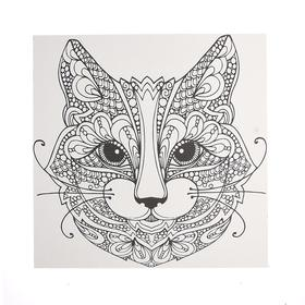"""Antistress coloring on primed MDF 6mm, 25*25 cm """" Cat """" A010"""