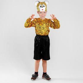 Карнавальный костюм «Тигр», рубашка, шорты, шапка, р. 30, рост 110-116 см
