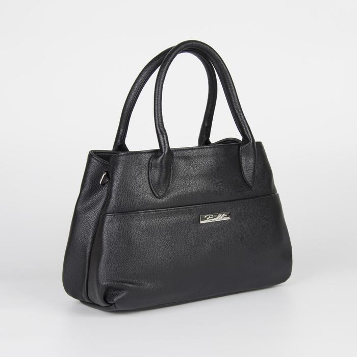 Сумка женская, отдел на молнии, наружный карман, длинный ремень, цвет чёрный - фото 54444
