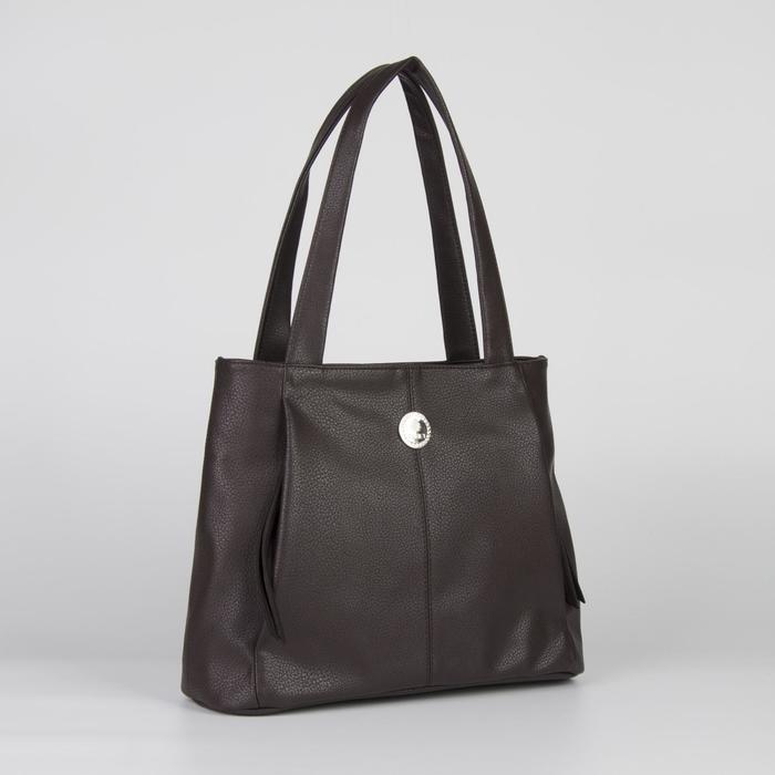 Сумка женская, отдел на молнии, 4 наружных кармана, цвет тёмно-коричневый - фото 760273