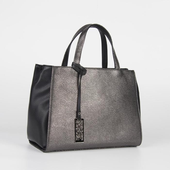 Сумка женская, отдел на молнии, наружный карман, цвет чёрный/серый - фото 54484