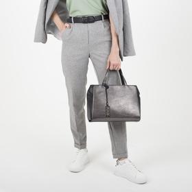 Сумка женская, отдел на молнии, наружный карман, цвет чёрный/серый - фото 54487