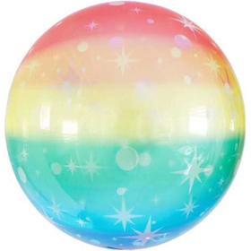 """Шар полимерный 18"""" «Звёздные искры», радужный, 3D-сфера"""