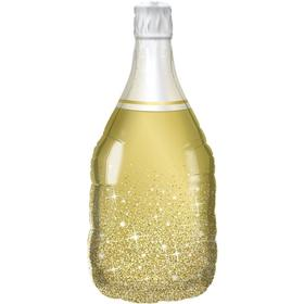 """Шар фольгированный 36"""" «Бутылка шампанского», сверкающие искры, фигура, цвет золотой в Донецке"""
