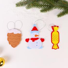 Набор для сюжетно-ролевых игр «Новогодние игрушки 6», шишка, снеговик, конфета