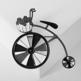 Bicycle brooch with flower basket, black and blue in silver