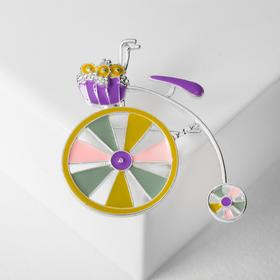 Bicycle brooch with flower basket, colored in silver