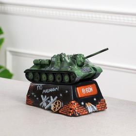 "Копилка ""Танк СУ-100"", зелёный, 26,5 см × 13,5 см, микс"