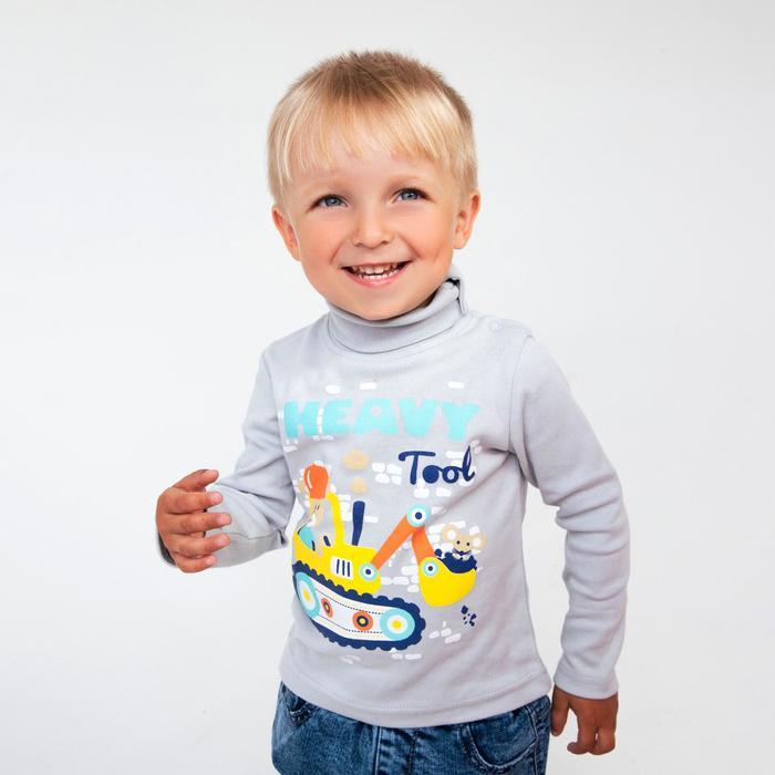 Водолазка для мальчика, цвет серый, рост 92 - фото 2027473