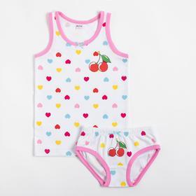 Комплект (майка, трусы) для девочки, цвет белый/сердечки, рост 146 см
