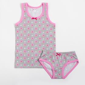 Комплект (майка, трусы) для девочки, цвет розовый, рост 146 см