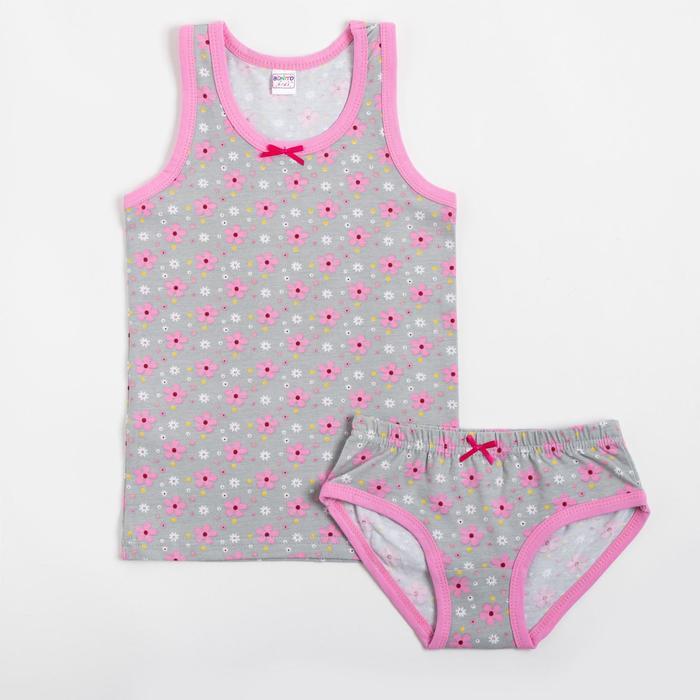 Комплект (майка, трусы) для девочки, цвет розовый, рост 146 см - фото 76774195