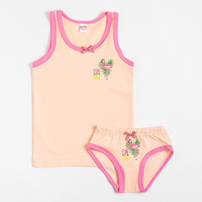 Комплект (майка, трусы) для девочки, цвет персик, рост 92 см - фото 2026300