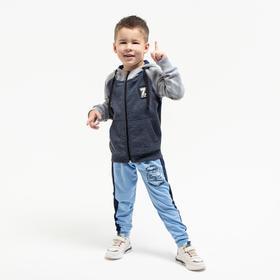 Толстовка для мальчика, цвет серый меланж, рост 116 см