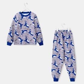 Пижама для мальчика, цвет серый меланж, рост 92 см
