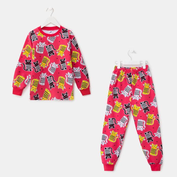 Пижама для девочки НАЧЁС, цвет малиновый, рост 110 см - фото 76676728
