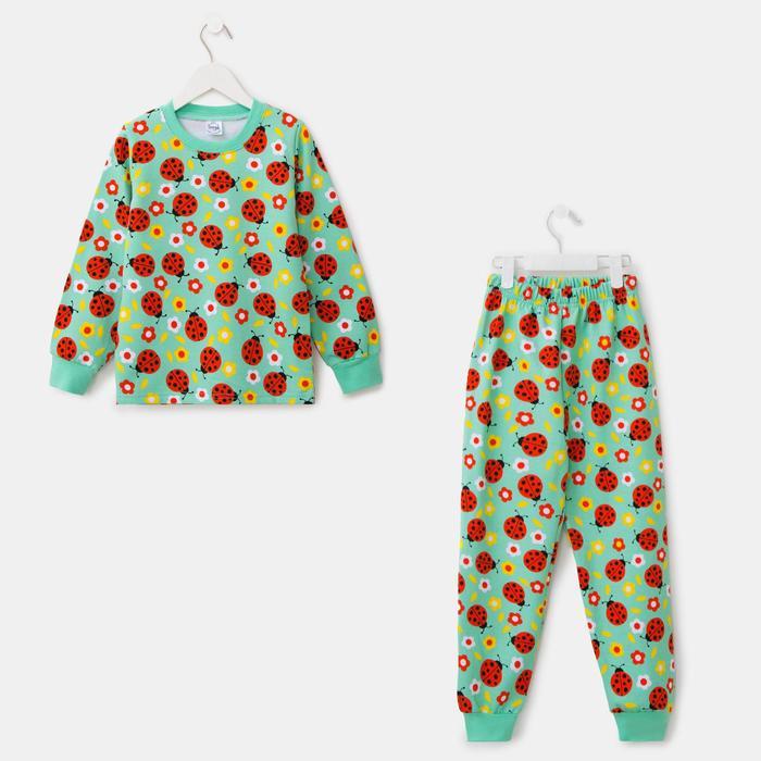 Пижама для девочки НАЧЁС, цвет ментол, рост 110 см - фото 76676732