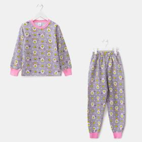 Пижама для девочки, цвет серый меланж, рост 92 см