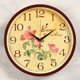 """Часы настенные """"Розы"""",  d=30 см , плавный ход"""