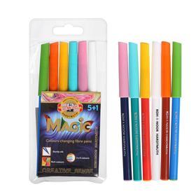 Фломастеры 5 цветов Koh-I-Noor MAGIC 1612 + 1 поглотитель чернил, перекрашивающие, смываемые, пакет с европодвесом