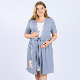 Комплект женский (халат, сорочка), цвет серый меланж/горох, размер 44