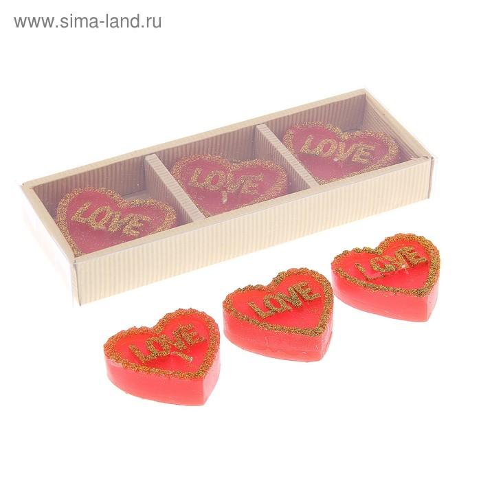 """Свечи восковые плавающие (набор 3 шт) """"Сердце Love"""", цвет красный"""