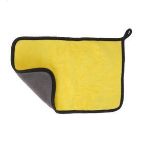 Car napkin CARTAGE, microfiber, thick, 20x30 cm, yellow-gray
