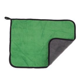 Car napkin CARTAGE, microfiber, thick, 30x40 cm, green-gray