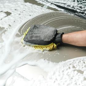 Варежка для мытья и полировки CARTAGE, 25x19 см, двухсторонняя, желто-серая