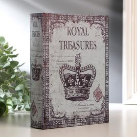 "Шкатулка-книга дерево ""Корона монарха"" кожзам 20х15х4 см"