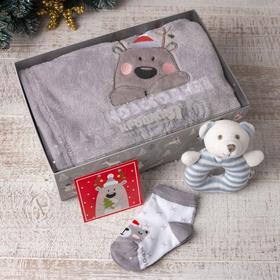 """Набор подарочный """"Крошка Я"""" Новогоднее чудо плед 85х100 см, игрушка, носки 9-12мес"""