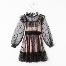 """Платье сетка с оборкой """"KAFTAN"""", чёрный, пудра, р-р 30 (98-104см)"""