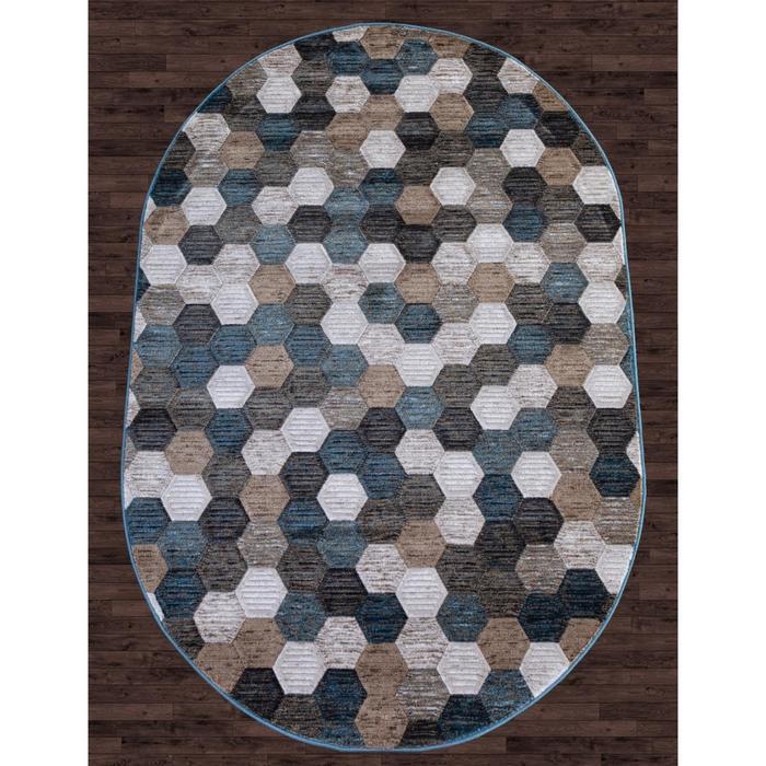 Ковёр овальный Matrix d579, размер 200x290 см, цвет beige-blue - фото 7929405